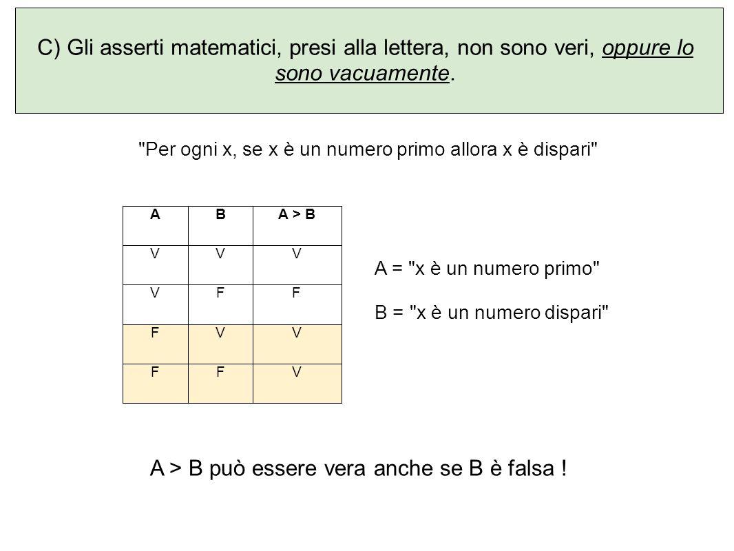 Per ogni x, se x è un numero primo allora x è dispari A = x è un numero primo B = x è un numero dispari A > B può essere vera anche se B è falsa .