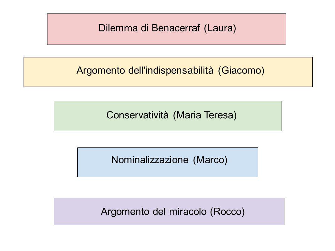 Dilemma di Benacerraf (Laura) Argomento dell'indispensabilità (Giacomo) Conservatività (Maria Teresa) Nominalizzazione (Marco) Argomento del miracolo