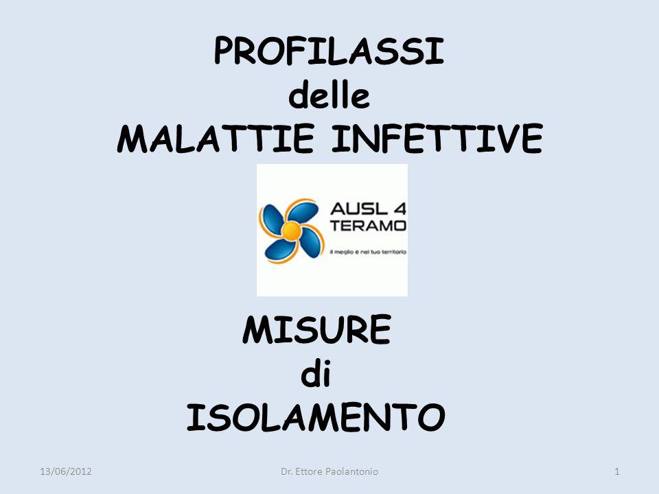 MISURE PREVENTIVE -INDIVIDUALI (Educazione Sanitaria, Igiene Personale) -DI MASSA (Risanamento Ambientale, Vigilanza sugli Alimenti, Lotta contro i Vettori) INTERVENTI -SINGOLI (Esempio Vaccinazione contro la Poliomielite) -MULTIPLI 13/06/2012Dr.