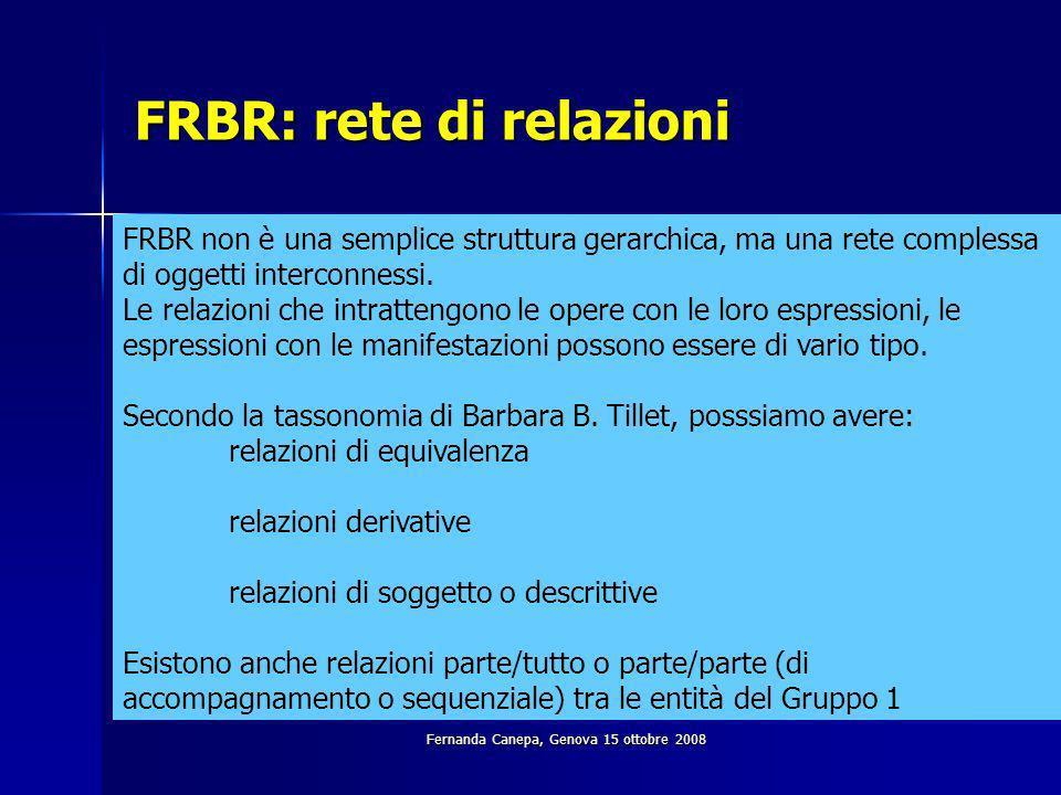 Fernanda Canepa, Genova 15 ottobre 2008 FRBR: rete di relazioni FRBR non è una semplice struttura gerarchica, ma una rete complessa di oggetti interconnessi.