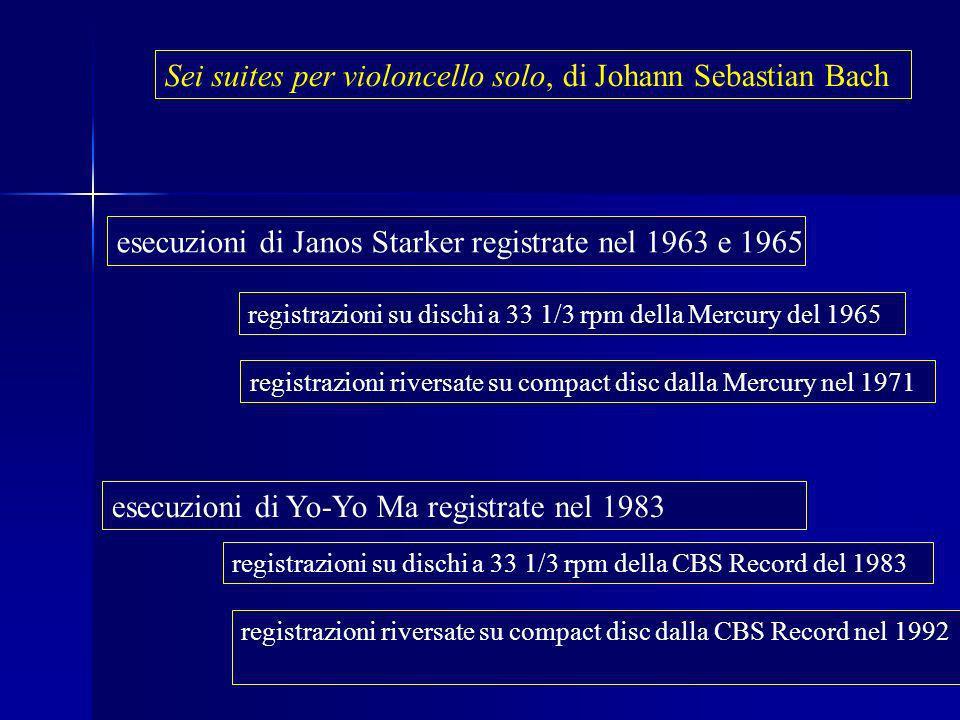 Fernanda Canepa, Genova 15 ottobre 2008 Sei suites per violoncello solo, di Johann Sebastian Bach esecuzioni di Janos Starker registrate nel 1963 e 1965 registrazioni su dischi a 33 1/3 rpm della Mercury del 1965 registrazioni riversate su compact disc dalla Mercury nel 1971 esecuzioni di Yo-Yo Ma registrate nel 1983 registrazioni su dischi a 33 1/3 rpm della CBS Record del 1983 registrazioni riversate su compact disc dalla CBS Record nel 1992