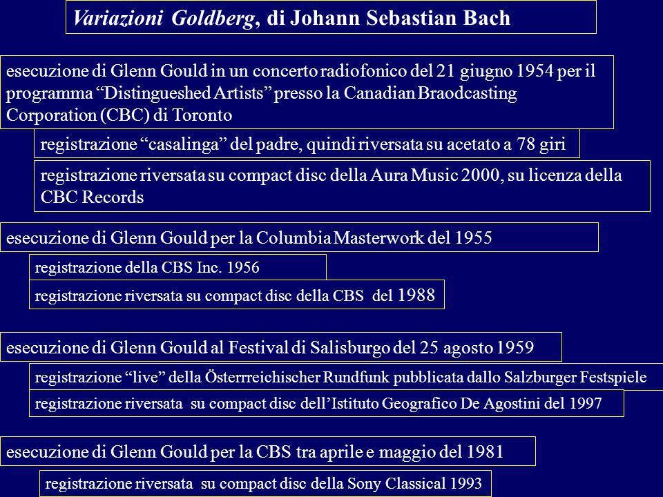 esecuzione di Glenn Gould in un concerto radiofonico del 21 giugno 1954 per il programma Distingueshed Artists presso la Canadian Braodcasting Corporation (CBC) di Toronto esecuzione di Glenn Gould per la Columbia Masterwork del 1955 Variazioni Goldberg, di Johann Sebastian Bach esecuzione di Glenn Gould al Festival di Salisburgo del 25 agosto 1959 esecuzione di Glenn Gould per la CBS tra aprile e maggio del 1981 registrazione casalinga del padre, quindi riversata su acetato a 78 giri registrazione riversata su compact disc della Aura Music 2000, su licenza della CBC Records registrazione della CBS Inc.