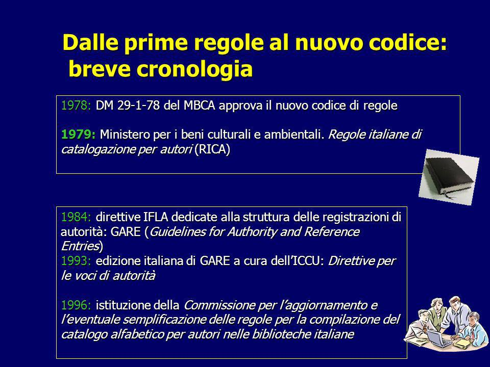 Dalle prime regole al nuovo codice: breve cronologia 1978: DM 29-1-78 del MBCA approva il nuovo codice di regole 1979: Ministero per i beni culturali e ambientali.