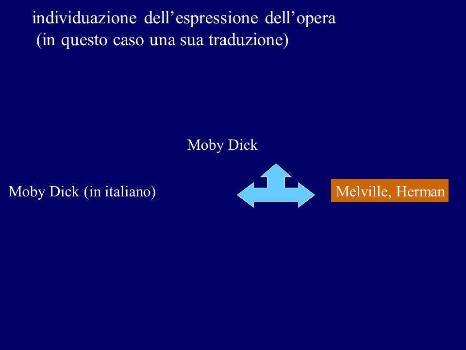 individuazione dellespressione dellopera (in questo caso una sua traduzione) Melville, Herman Moby Dick Moby Dick (in italiano)