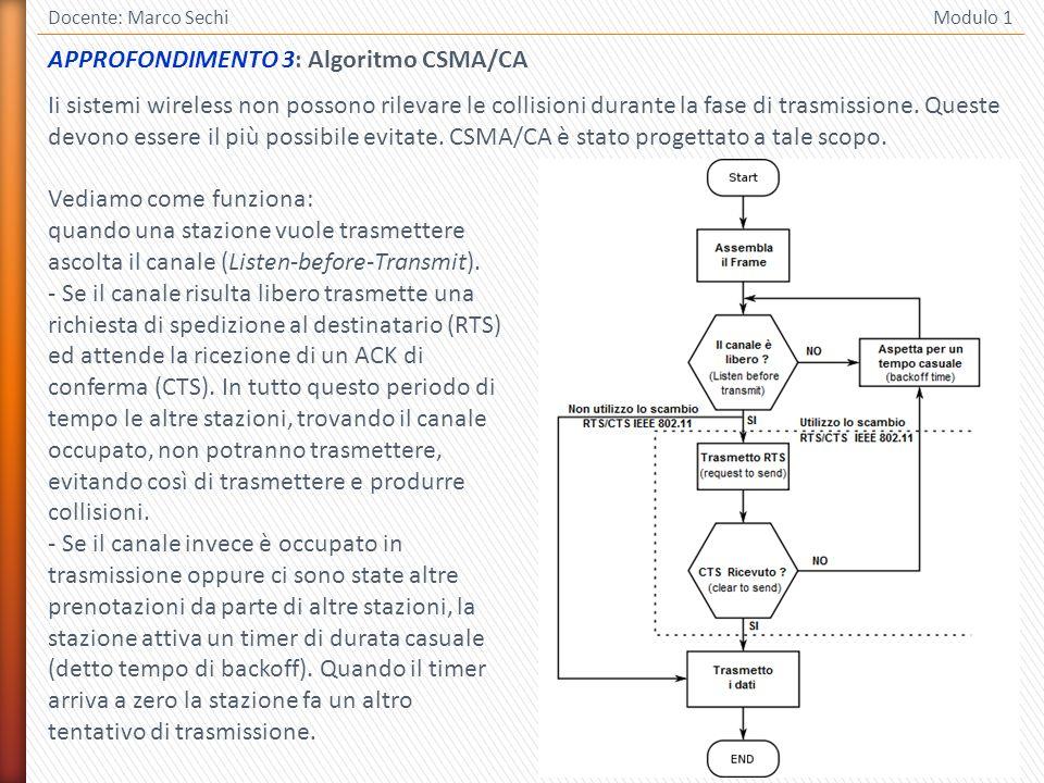 15 Docente: Marco Sechi Modulo 1 Vediamo come funziona: quando una stazione vuole trasmettere ascolta il canale (Listen-before-Transmit). - Se il cana