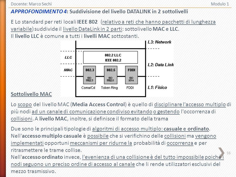 16 Docente: Marco Sechi Modulo 1 APPROFONDIMENTO 4: Suddivisione del livello DATALINK in 2 sottolivelli E Lo standard per reti locali IEEE 802 (relati