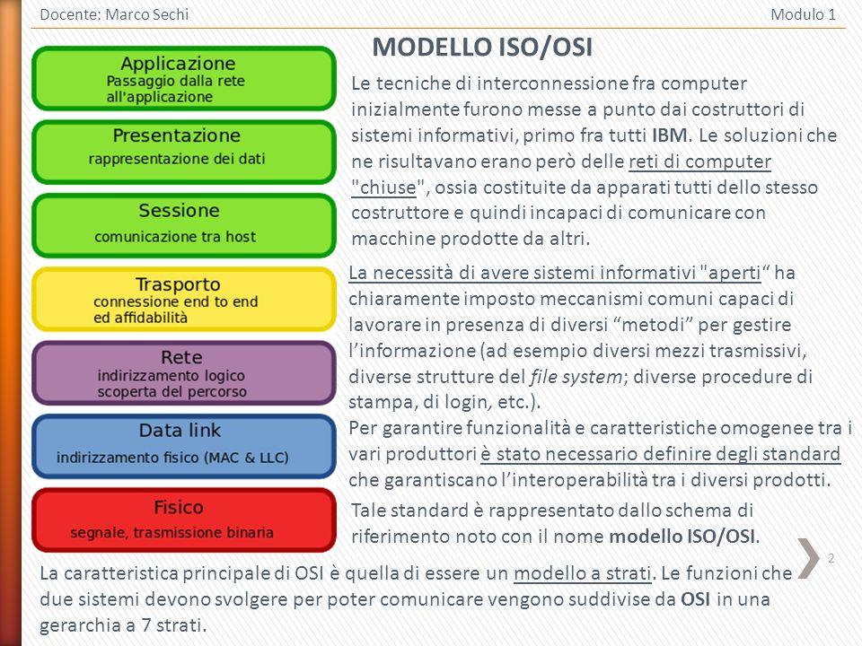 3 Docente: Marco Sechi Modulo 1 Lo scopo di ciascun livello è quello di fornire servizi al livello superiore.