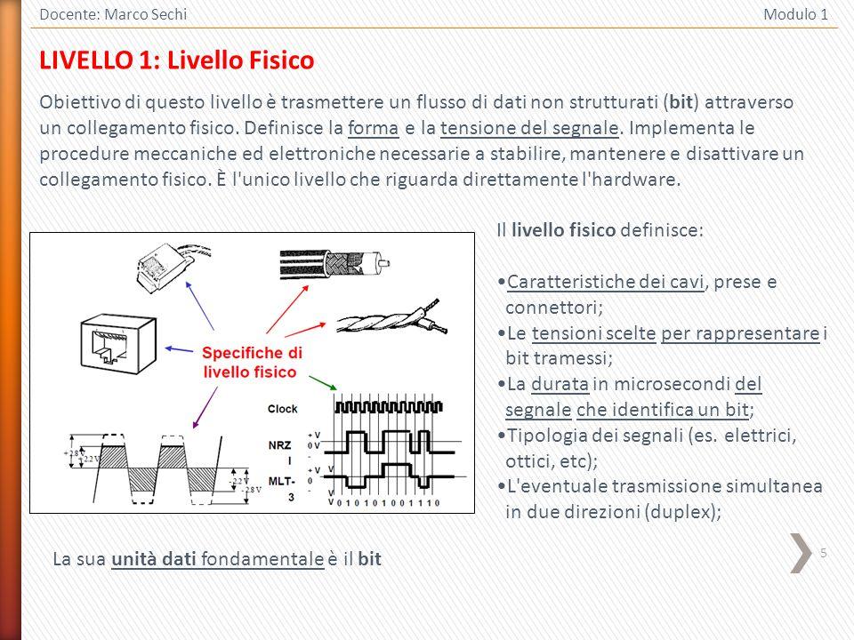 5 Docente: Marco Sechi Modulo 1 LIVELLO 1: Livello Fisico Obiettivo di questo livello è trasmettere un flusso di dati non strutturati (bit) attraverso