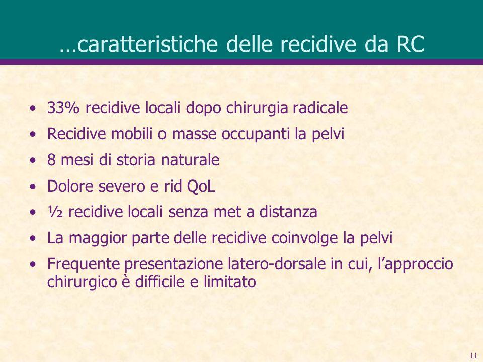 11 …caratteristiche delle recidive da RC 33% recidive locali dopo chirurgia radicale Recidive mobili o masse occupanti la pelvi 8 mesi di storia natur