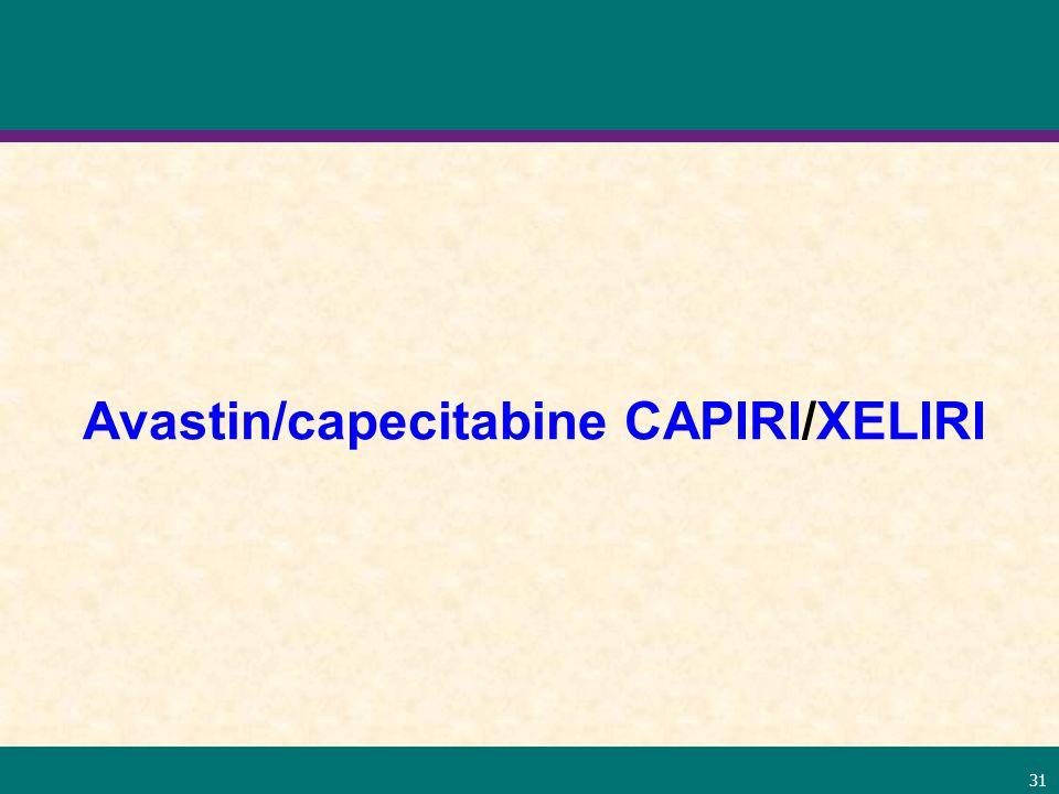 31 Avastin/capecitabine CAPIRI/XELIRI