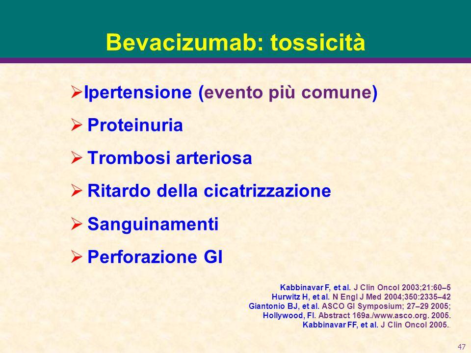 47 Bevacizumab: tossicità Ipertensione (evento più comune) Proteinuria Trombosi arteriosa Ritardo della cicatrizzazione Sanguinamenti Perforazione GI