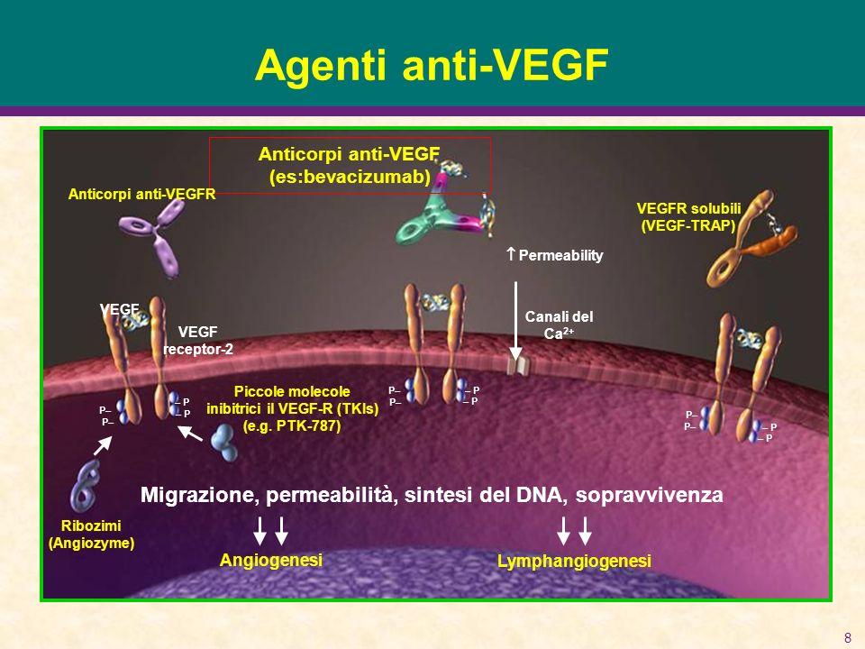 8 Agenti anti-VEGF VEGF VEGF receptor-2 Canali del Ca 2+ Permeability Anticorpi anti-VEGF (es:bevacizumab) Anticorpi anti-VEGFR VEGFR solubili (VEGF-TRAP) Piccole molecole inibitrici il VEGF-R (TKIs) (e.g.