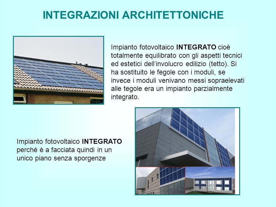 INTEGRAZIONI ARCHITETTONICHE Impianto fotovoltaico INTEGRATO cioè totalmente equilibrato con gli aspetti tecnici ed estetici dellinvolucro edilizio (tetto).