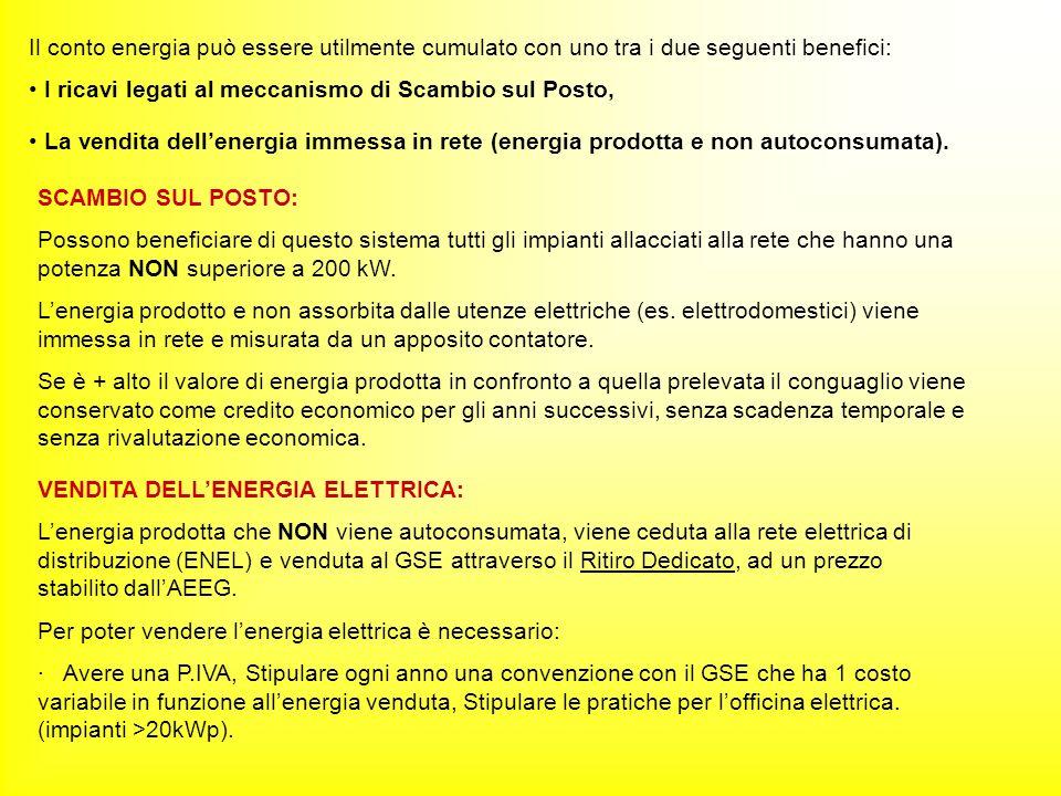 Il conto energia può essere utilmente cumulato con uno tra i due seguenti benefici: I ricavi legati al meccanismo di Scambio sul Posto, La vendita dellenergia immessa in rete (energia prodotta e non autoconsumata).