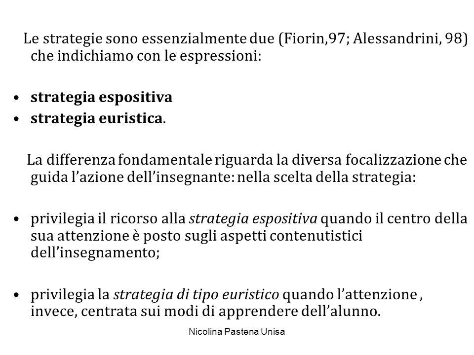 Nicolina Pastena Unisa Le strategie sono essenzialmente due (Fiorin,97; Alessandrini, 98) che indichiamo con le espressioni: strategia espositiva stra