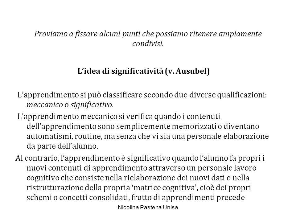 Nicolina Pastena Unisa Proviamo a fissare alcuni punti che possiamo ritenere ampiamente condivisi. Lidea di significatività (v. Ausubel) Lapprendimen