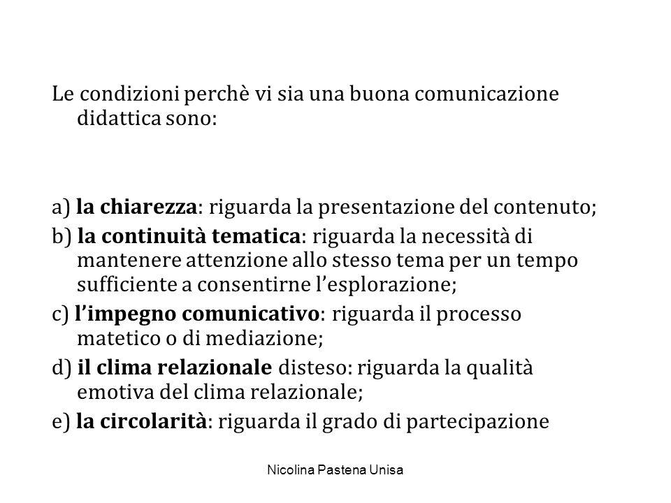 Nicolina Pastena Unisa Le condizioni perchè vi sia una buona comunicazione didattica sono: a) la chiarezza: riguarda la presentazione del contenuto; b