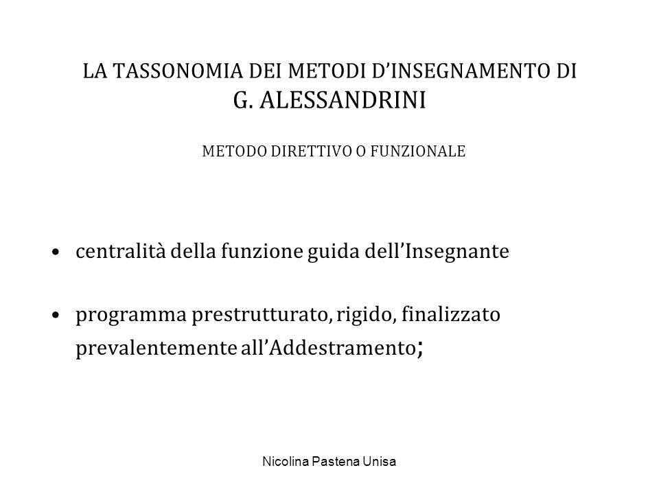 Nicolina Pastena Unisa LA TASSONOMIA DEI METODI DINSEGNAMENTO DI G. ALESSANDRINI METODO DIRETTIVO O FUNZIONALE centralità della funzione guida dellIns