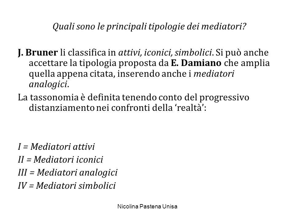 Nicolina Pastena Unisa Quali sono le principali tipologie dei mediatori? J. Bruner li classifica in attivi, iconici, simbolici. Si può anche accettar