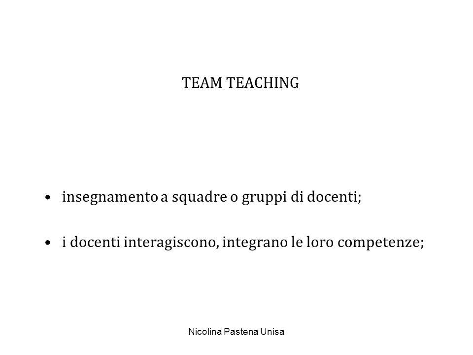 Nicolina Pastena Unisa TEAM TEACHING insegnamento a squadre o gruppi di docenti; i docenti interagiscono, integrano le loro competenze;