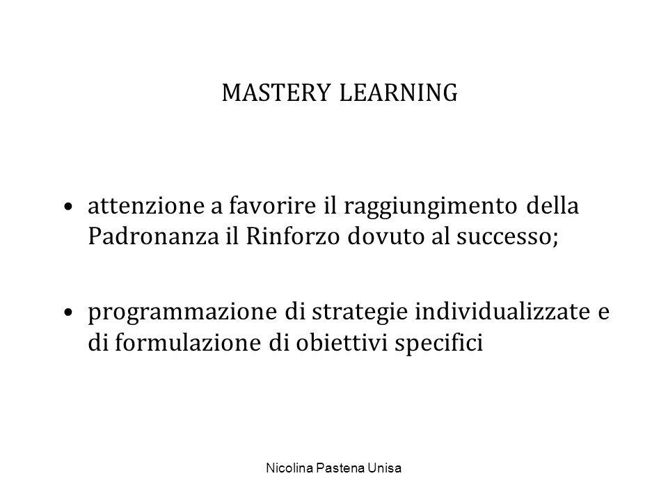 Nicolina Pastena Unisa MASTERY LEARNING attenzione a favorire il raggiungimento della Padronanza il Rinforzo dovuto al successo; programmazione di str