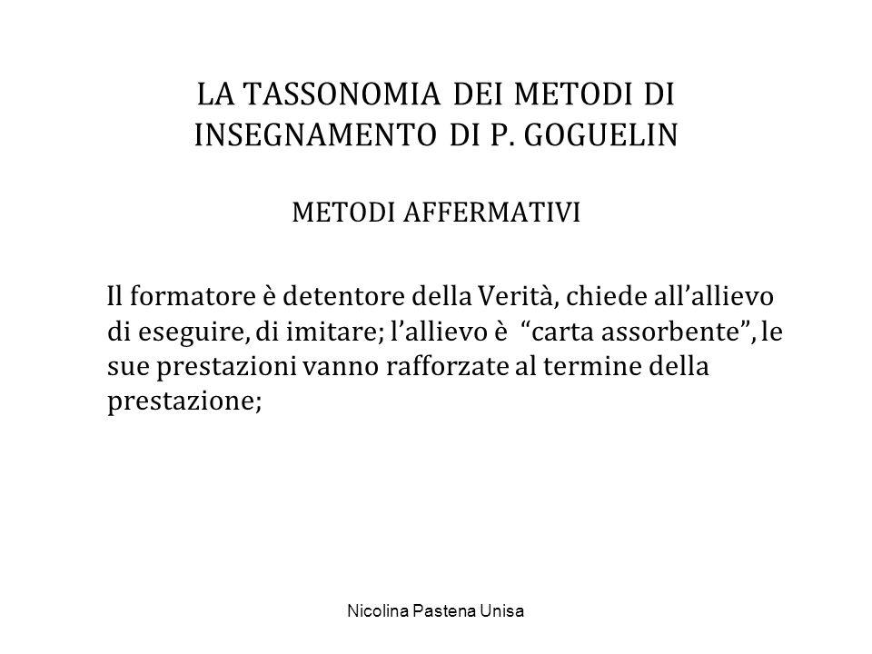 Nicolina Pastena Unisa LA TASSONOMIA DEI METODI DI INSEGNAMENTO DI P. GOGUELIN METODI AFFERMATIVI Il formatore è detentore della Verità, chiede allall