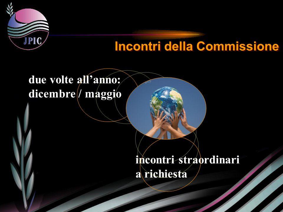 incontri straordinari a richiesta Incontri della Commissione due volte allanno: dicembre / maggio