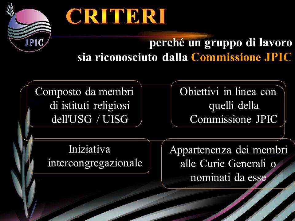 perché un gruppo di lavoro sia riconosciuto dalla Commissione JPIC Appartenenza dei membri alle Curie Generali o nominati da esse Iniziativa intercongregazionale Obiettivi in linea con quelli della Commissione JPIC Composto da membri di istituti religiosi dell USG / UISG