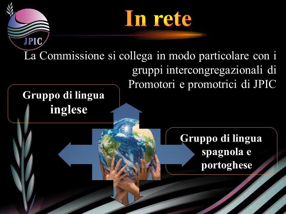 Gruppo di lingua spagnola e portoghese La La Commissione si collega in modo particolare con i gruppi intercongregazionali di Promotori e promotrici di JPIC Gruppo di lingua inglese