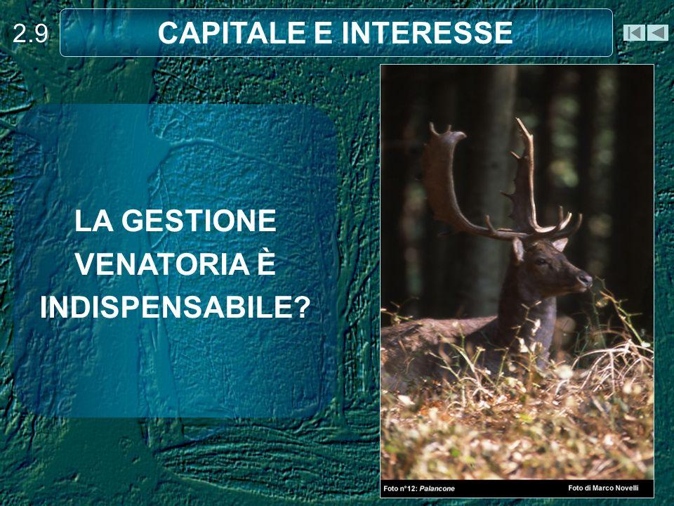 2.9 CAPITALE E INTERESSE LA GESTIONE VENATORIA È INDISPENSABILE