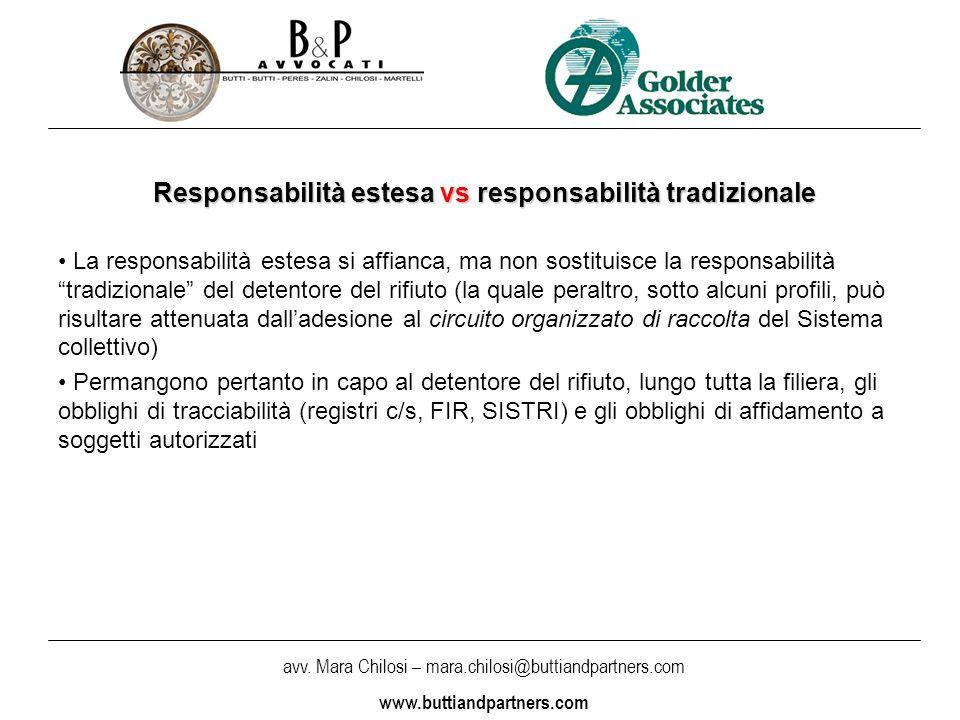 avv. Mara Chilosi – mara.chilosi@buttiandpartners.com www.buttiandpartners.com Responsabilità estesa vs responsabilità tradizionale La responsabilità