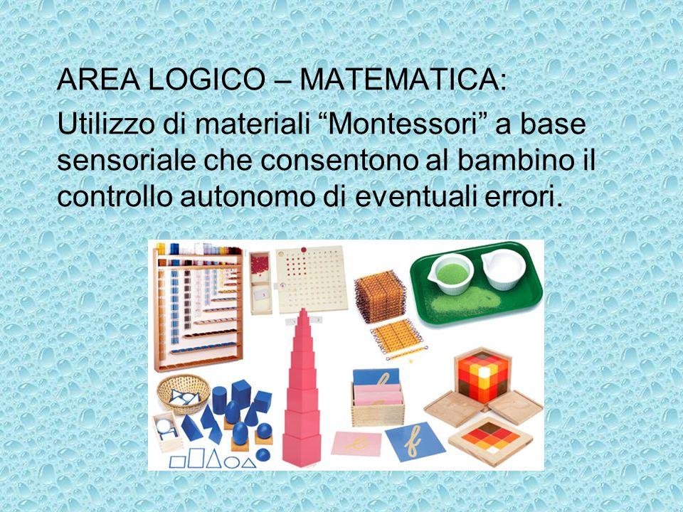 AREA LOGICO – MATEMATICA: Utilizzo di materiali Montessori a base sensoriale che consentono al bambino il controllo autonomo di eventuali errori.