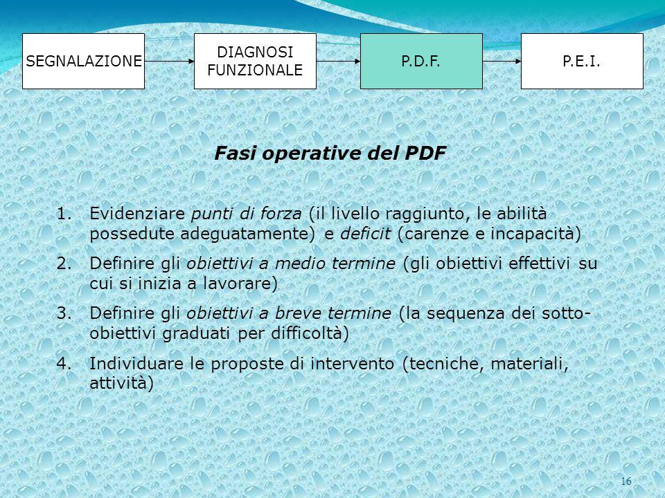 16 SEGNALAZIONE DIAGNOSI FUNZIONALE P.D.F.P.E.I. Fasi operative del PDF 1.Evidenziare punti di forza (il livello raggiunto, le abilità possedute adegu
