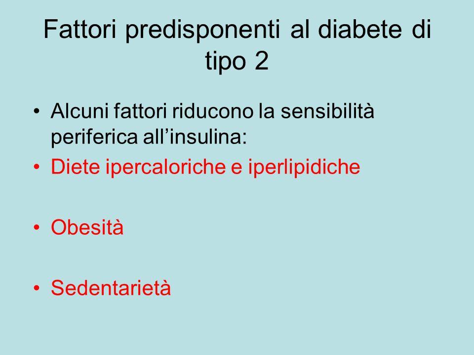 Fattori predisponenti al diabete di tipo 2 Alcuni fattori riducono la sensibilità periferica allinsulina: Diete ipercaloriche e iperlipidiche Obesità