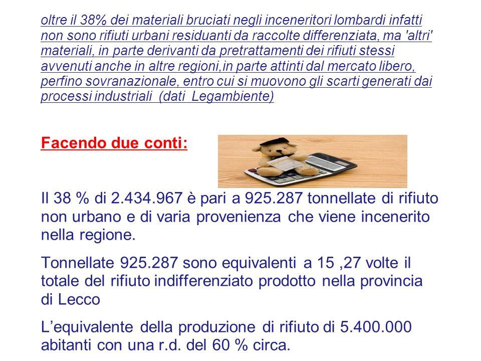 oltre il 38% dei materiali bruciati negli inceneritori lombardi infatti non sono rifiuti urbani residuanti da raccolte differenziata, ma 'altri' mater