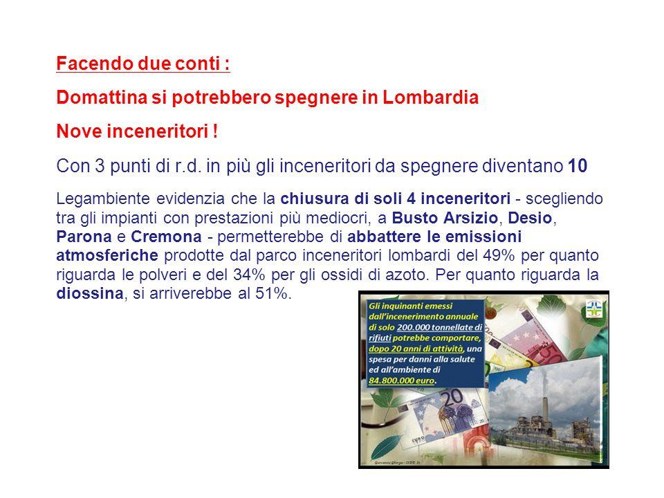 Facendo due conti : Domattina si potrebbero spegnere in Lombardia Nove inceneritori ! Con 3 punti di r.d. in più gli inceneritori da spegnere diventan