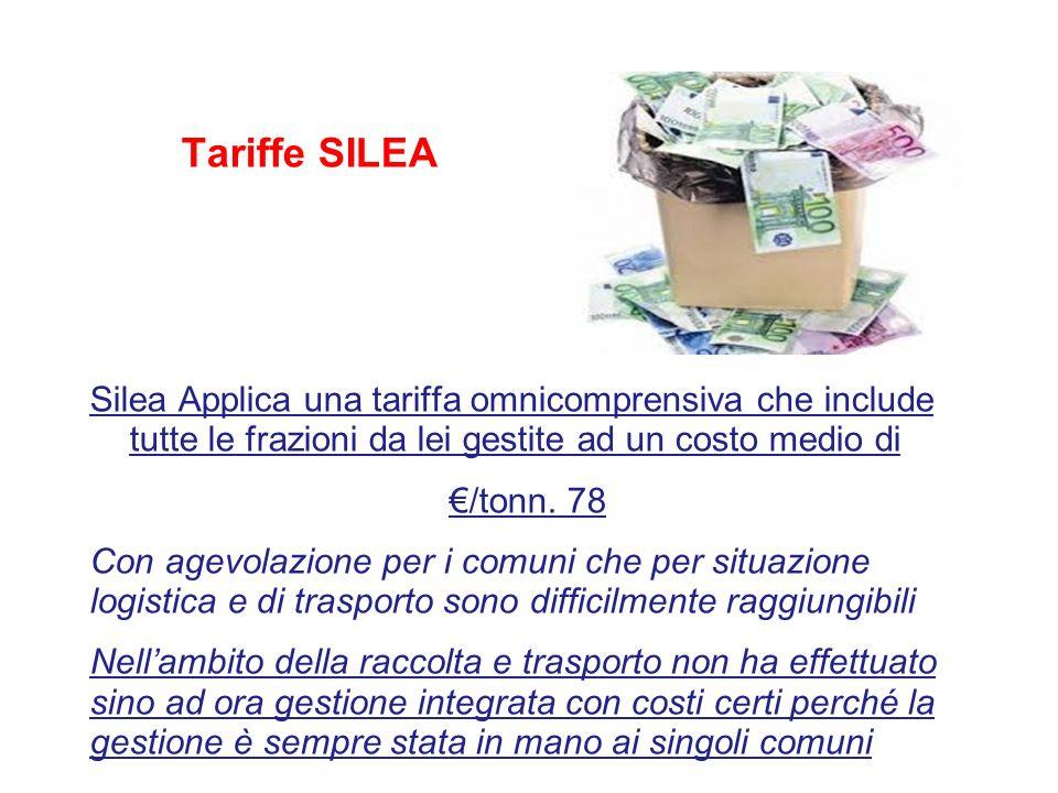 Tariffe SILEA Silea Applica una tariffa omnicomprensiva che include tutte le frazioni da lei gestite ad un costo medio di /tonn. 78 Con agevolazione p