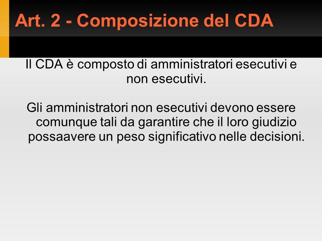 Art. 2 - Composizione del CDA Il CDA è composto di amministratori esecutivi e non esecutivi.