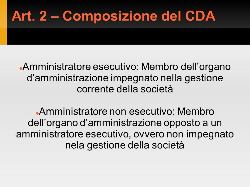 Art. 2 – Composizione del CDA Amministratore esecutivo: Membro dellorgano damministrazione impegnato nella gestione corrente della società Amministrat