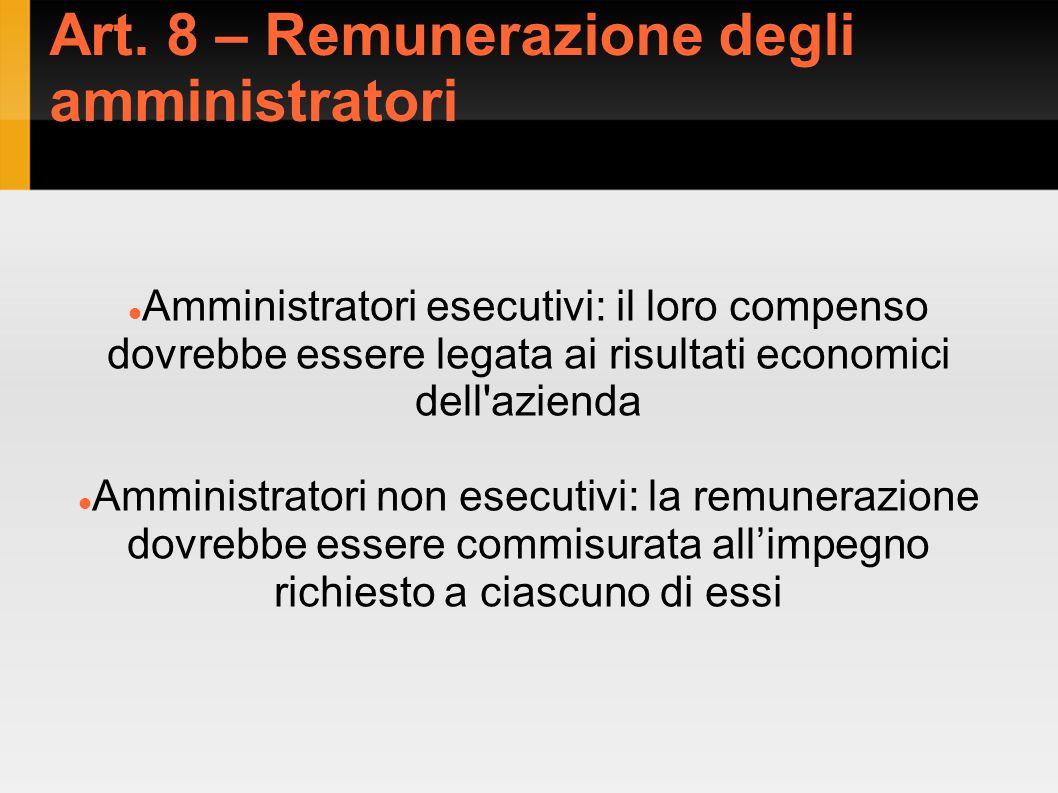 Art. 8 – Remunerazione degli amministratori Amministratori esecutivi: il loro compenso dovrebbe essere legata ai risultati economici dell'azienda Ammi