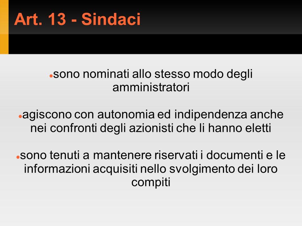 Art. 13 - Sindaci sono nominati allo stesso modo degli amministratori agiscono con autonomia ed indipendenza anche nei confronti degli azionisti che l