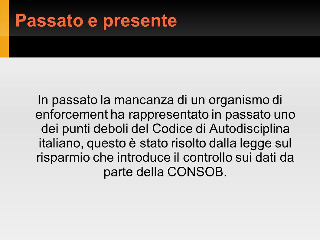 Passato e presente In passato la mancanza di un organismo di enforcement ha rappresentato in passato uno dei punti deboli del Codice di Autodisciplina italiano, questo è stato risolto dalla legge sul risparmio che introduce il controllo sui dati da parte della CONSOB.