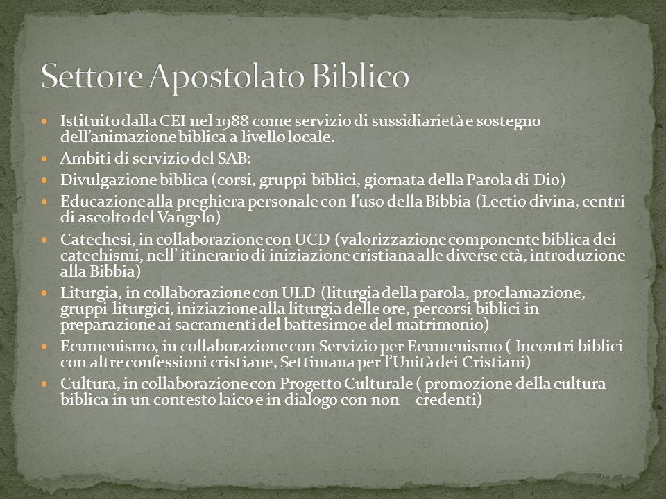 Istituito dalla CEI nel 1988 come servizio di sussidiarietà e sostegno dellanimazione biblica a livello locale. Ambiti di servizio del SAB: Divulgazio