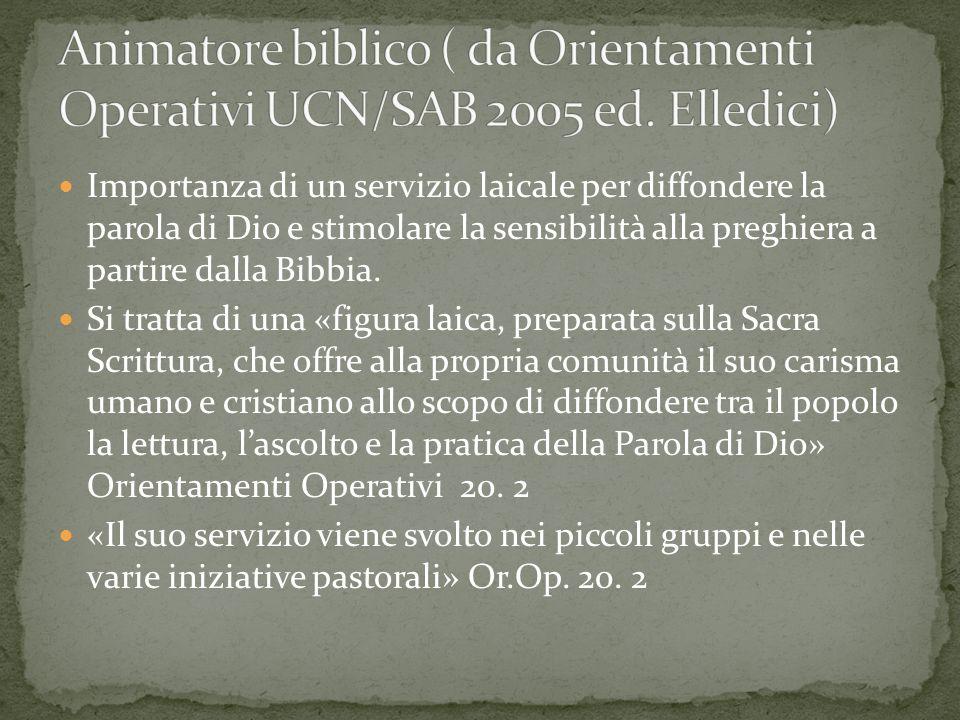 Importanza di un servizio laicale per diffondere la parola di Dio e stimolare la sensibilità alla preghiera a partire dalla Bibbia. Si tratta di una «