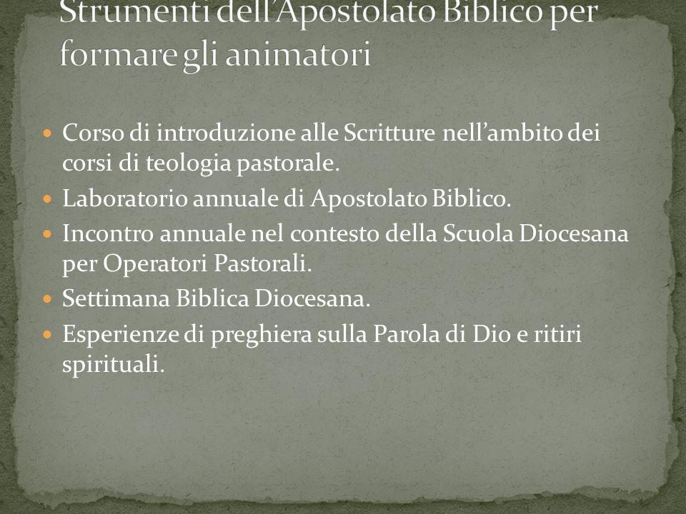 Corso di introduzione alle Scritture nellambito dei corsi di teologia pastorale. Laboratorio annuale di Apostolato Biblico. Incontro annuale nel conte