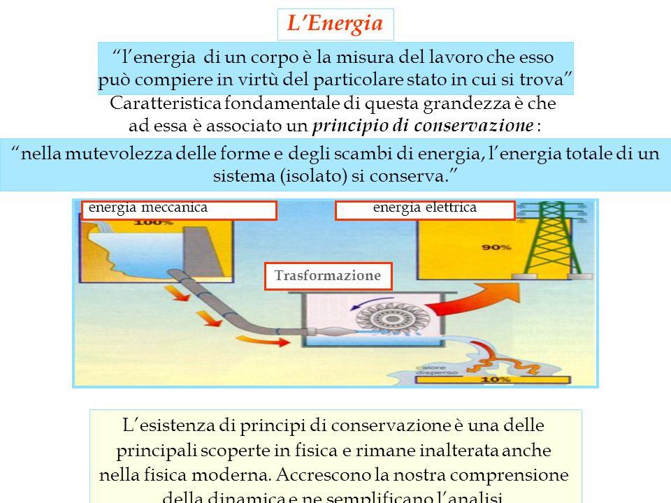 energia meccanicaenergia elettrica Trasformazione lenergia di un corpo è la misura del lavoro che esso può compiere in virtù del particolare stato in