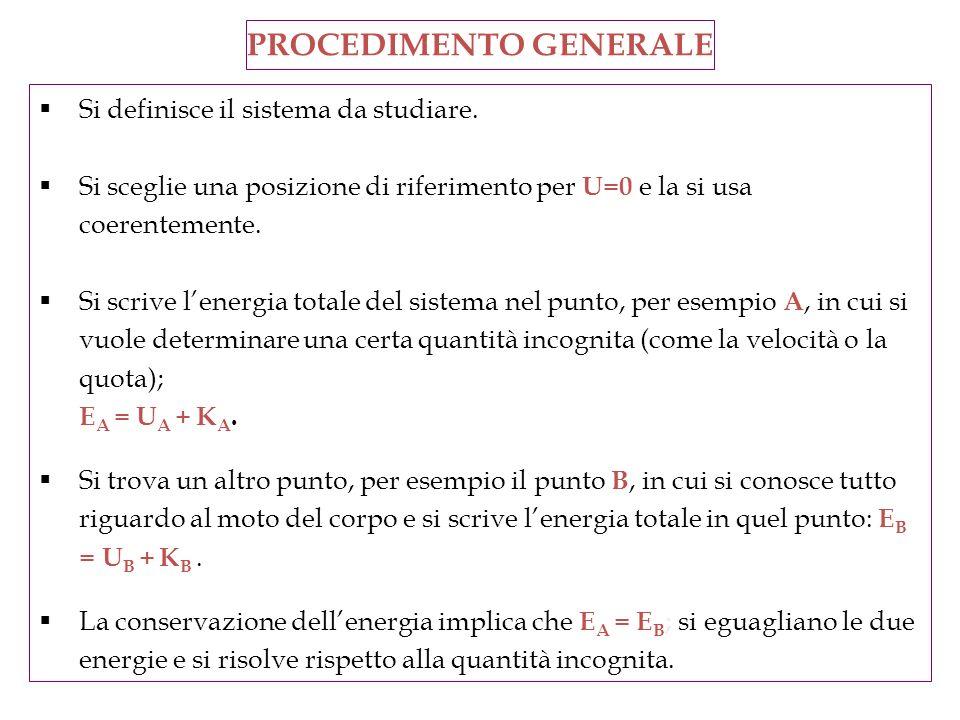 Si definisce il sistema da studiare. Si sceglie una posizione di riferimento per U=0 e la si usa coerentemente. Si scrive lenergia totale del sistema