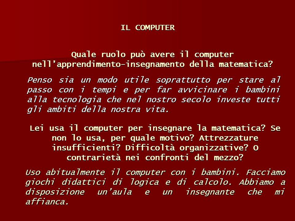 IL COMPUTER Penso sia un modo utile soprattutto per stare al passo con i tempi e per far avvicinare i bambini alla tecnologia che nel nostro secolo in