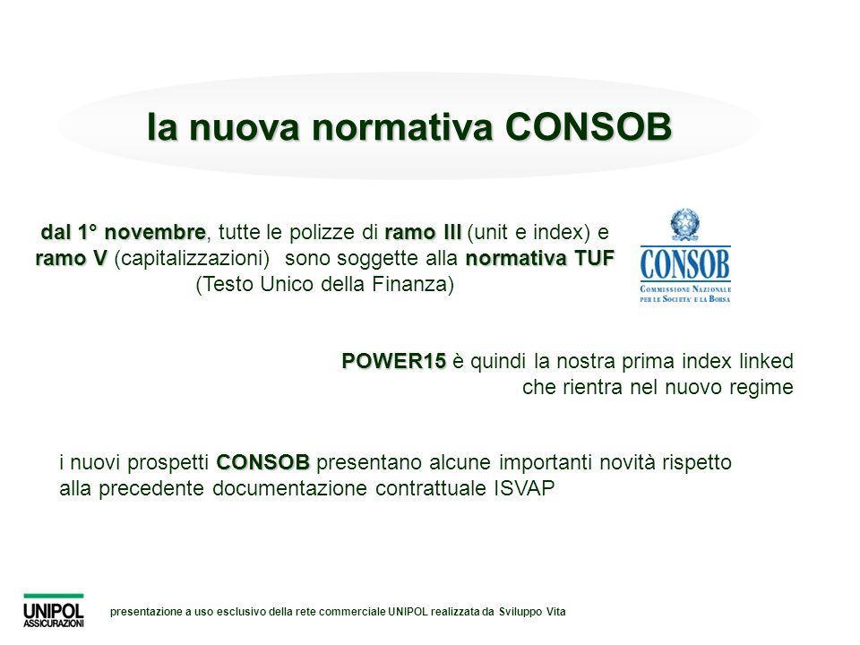 presentazione a uso esclusivo della rete commerciale UNIPOL realizzata da Sviluppo Vita la nuova normativa CONSOB dal 1° novembreramo III ramo Vnormat