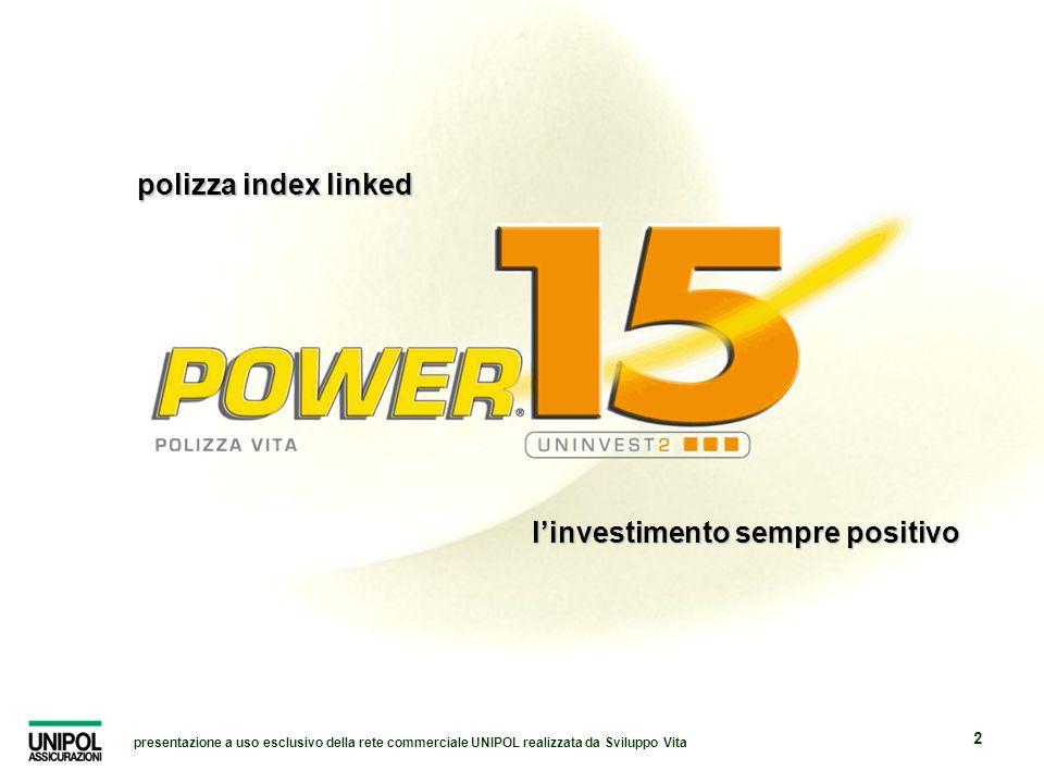 presentazione a uso esclusivo della rete commerciale UNIPOL realizzata da Sviluppo Vita 2 linvestimento sempre positivo polizza index linked
